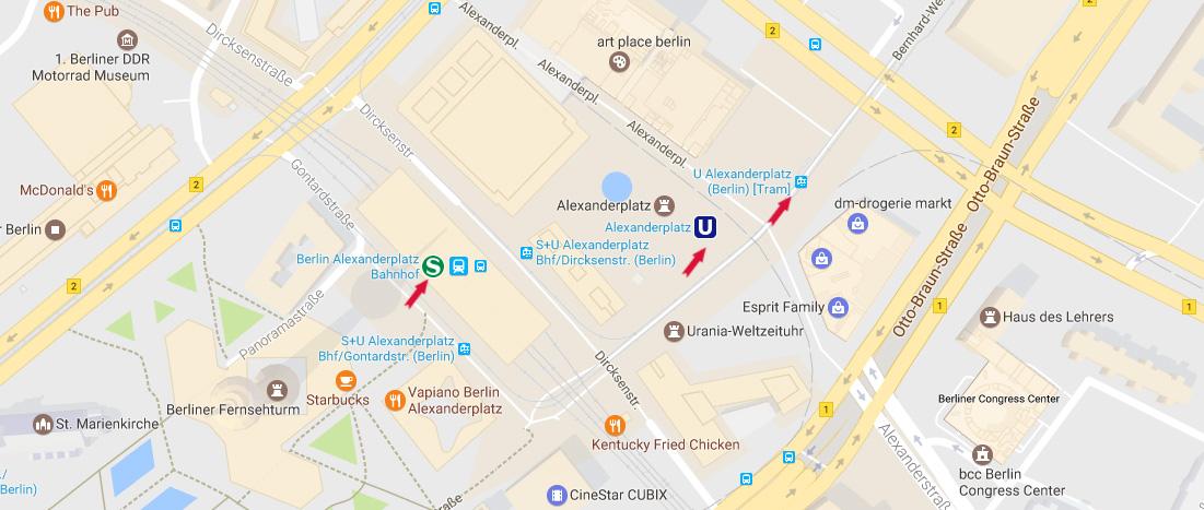 cartina mappa stazione alexanderplatz